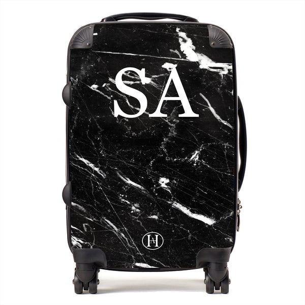 Personalised HA Designs Black Marble Printed Suitcase