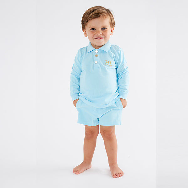 Personalised HA Mini Boys Shorts & Long sleeve Top Set - Blue