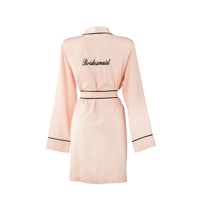 Bridesmaid HA Sleep Satin Dressing Gown Robe - Pink