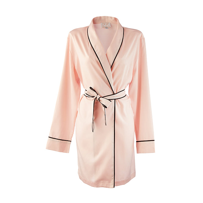 Maid Of Honour HA Sleep Satin Dressing Gown Robe - Pink
