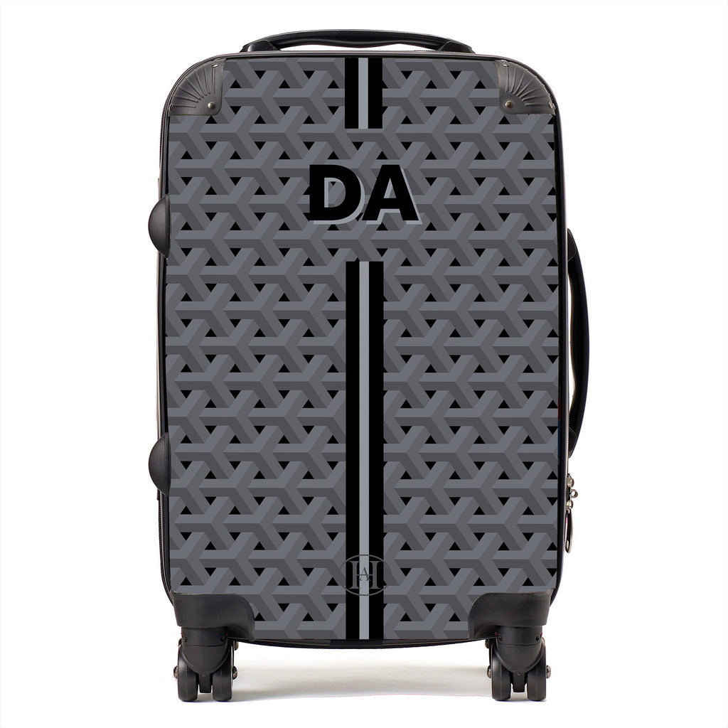 Personalised HA Designs Printed Suitcase - Grey