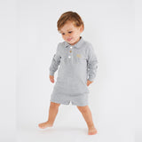 Personalised HA Mini Boys Shorts & Long sleeve Top Set - Grey