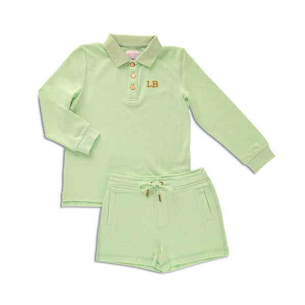Personalised HA Mini Boys Shorts & Long sleeve Top Set - Lime