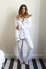 Personalised HA Sleep Jersey Long Sleeve Pyjama Set - White