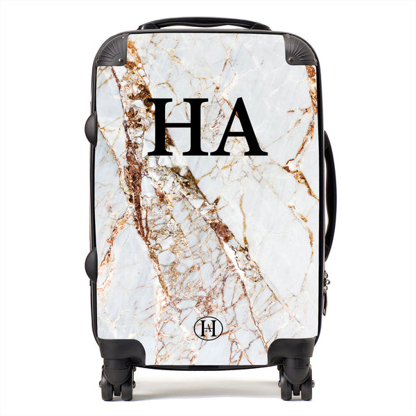 Personalised HA Designs Natural Marble Printed Suitcase
