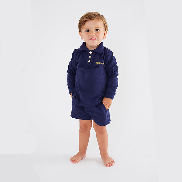 Personalised HA Mini Boys Shorts & Long sleeve Top Set - Navy