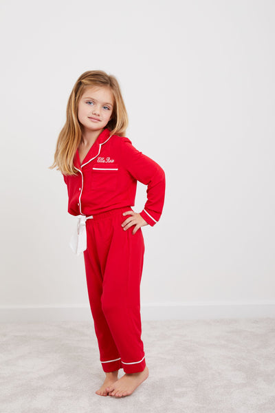 Personalised HA Mini Girls Jersey Long Sleeve Pyjama Set- Red