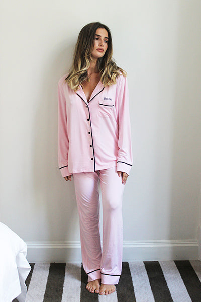 Personalised HA Sleep Jersey Long Sleeve Pyjama Set - Pink