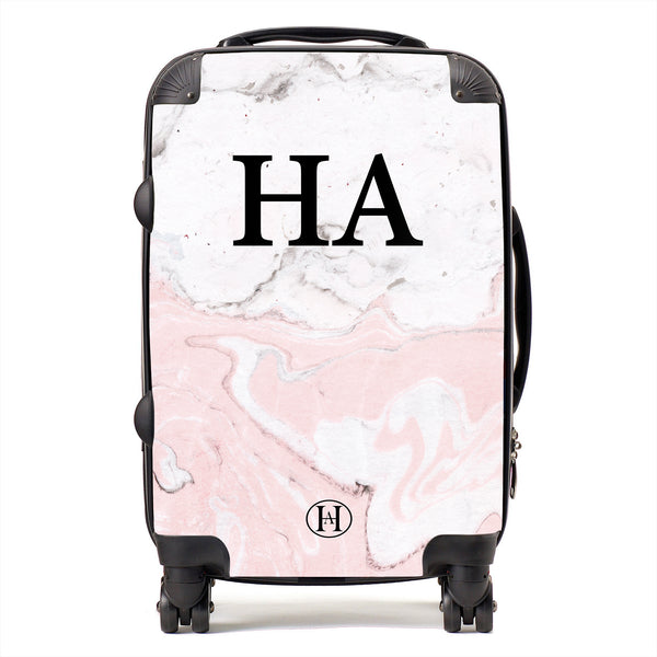 Personalised HA Designs Pink Marble Printed Suitcase