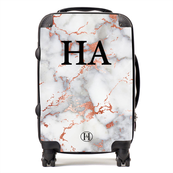 Personalised HA Designs Rose Gold Marble Printed Suitcase