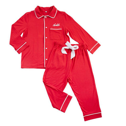 Red Boy's Jersey Long Sleeve Personalised Pyjama Set
