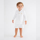 Personalised HA Mini Boys Shorts & Long sleeve Top Set - White