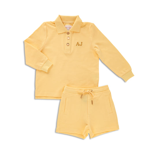 Personalised HA Mini Boys Shorts & Long sleeve Top Set - Yellow