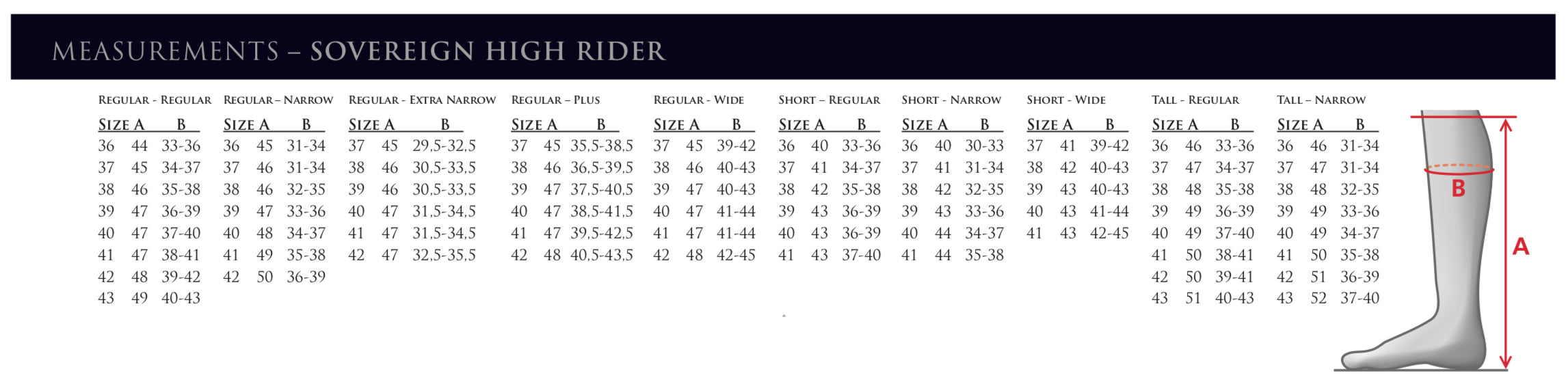 Mountain Horse Sovereign High Rider Tall Boot Size Chart