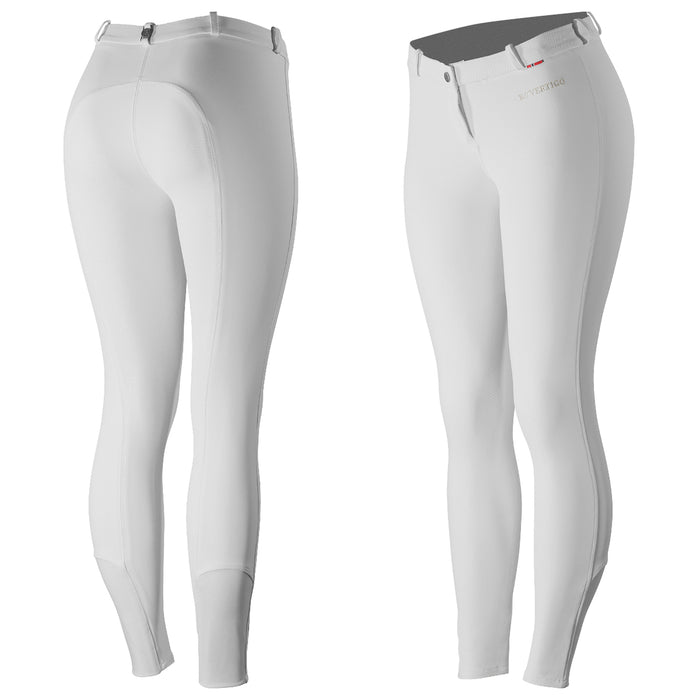 Photo of front and back of B Vertigo Lauren Silicone Competition Breeches in White