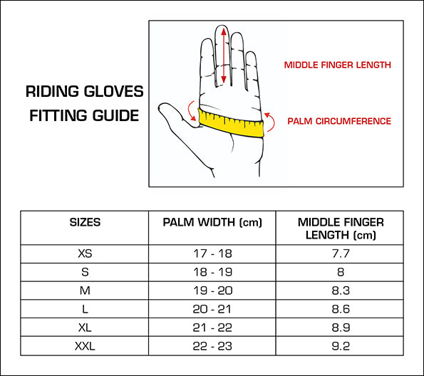 Premier Equine Mizar Leather Riding Gloves Size Guide