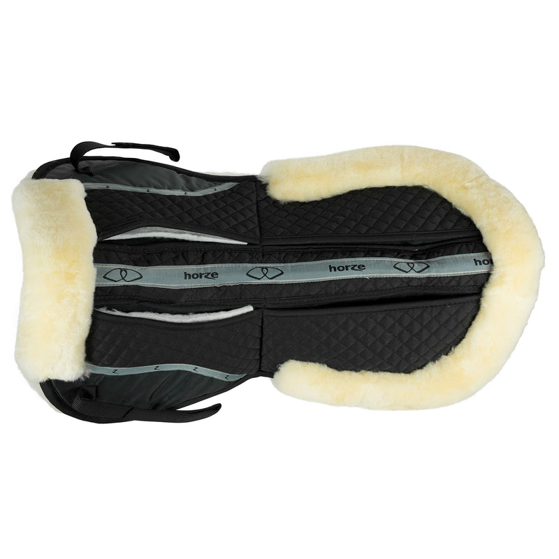 Photo of Horze Harleigh Correction Half Pad in Black with Natural Sheepskin