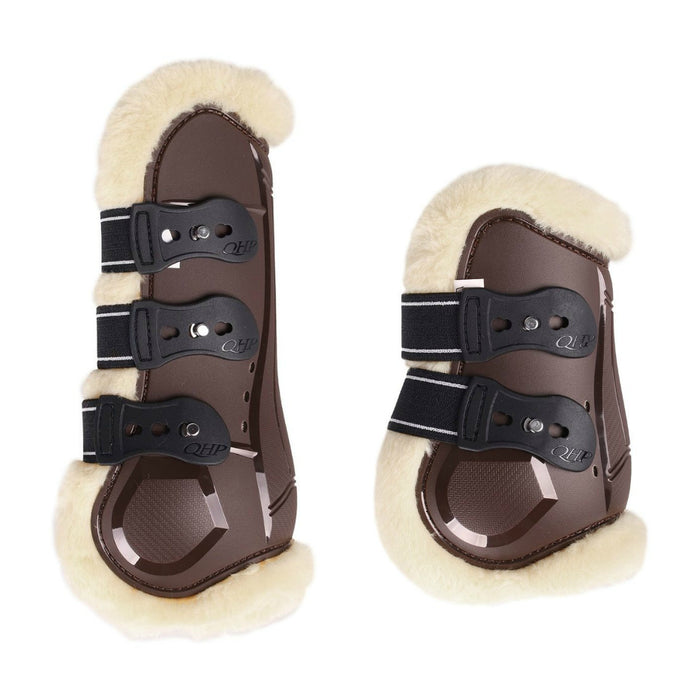 Photo of QHP Ontario Tendon & Fetlock Boot Set in Brown