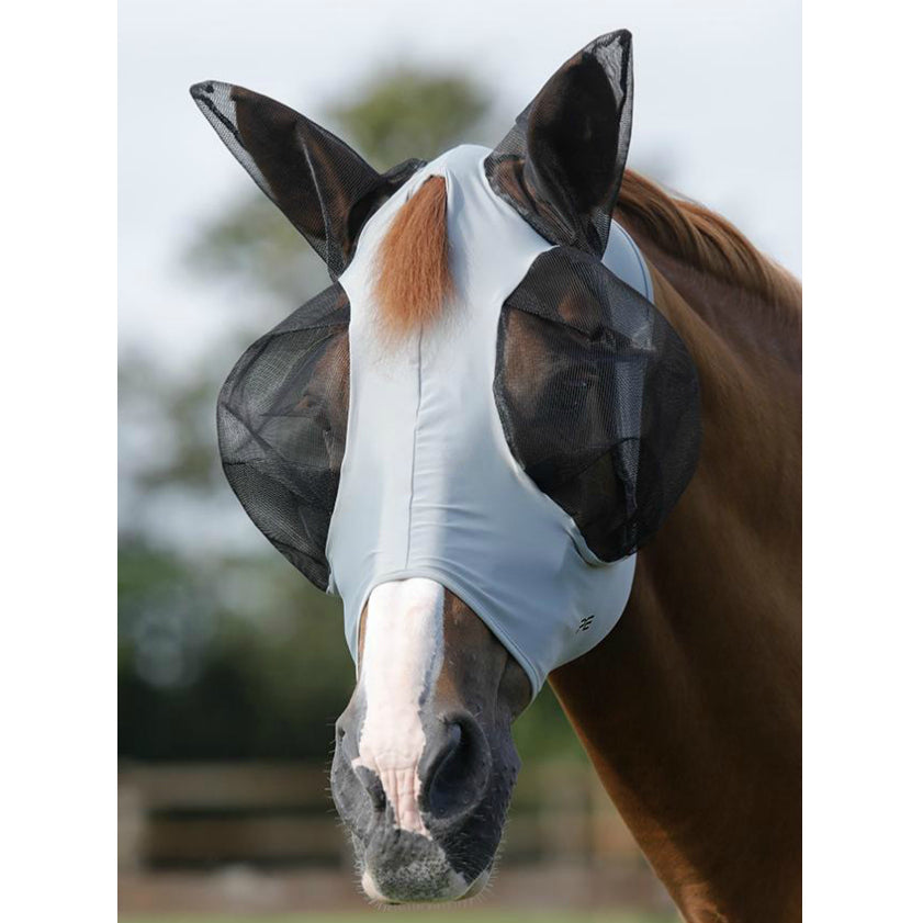 Photo of horse wearing Premier Equine Comfort Tech Lycra Fly Mask in Grey