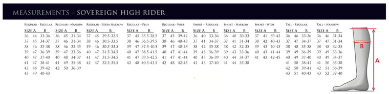 Mountain Horse Sovereign High Rider Tall Boot Sizing Chart