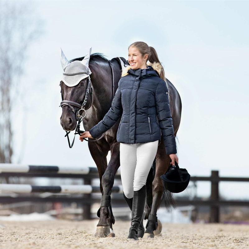 Photo of woman wearing Horze Camilla Jacket in Navy Blue