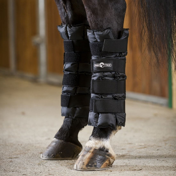 Photo of horse wearing Finntack Horze Cooling Wraps Ice Boots