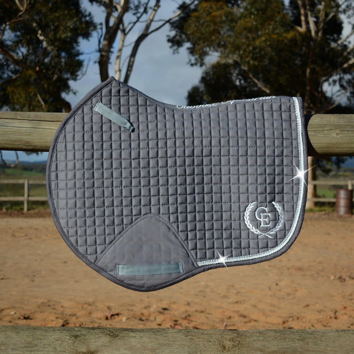 Photo of Caboose Equestrian Signature Close Contact Jump Saddle Pad in GREY with logo