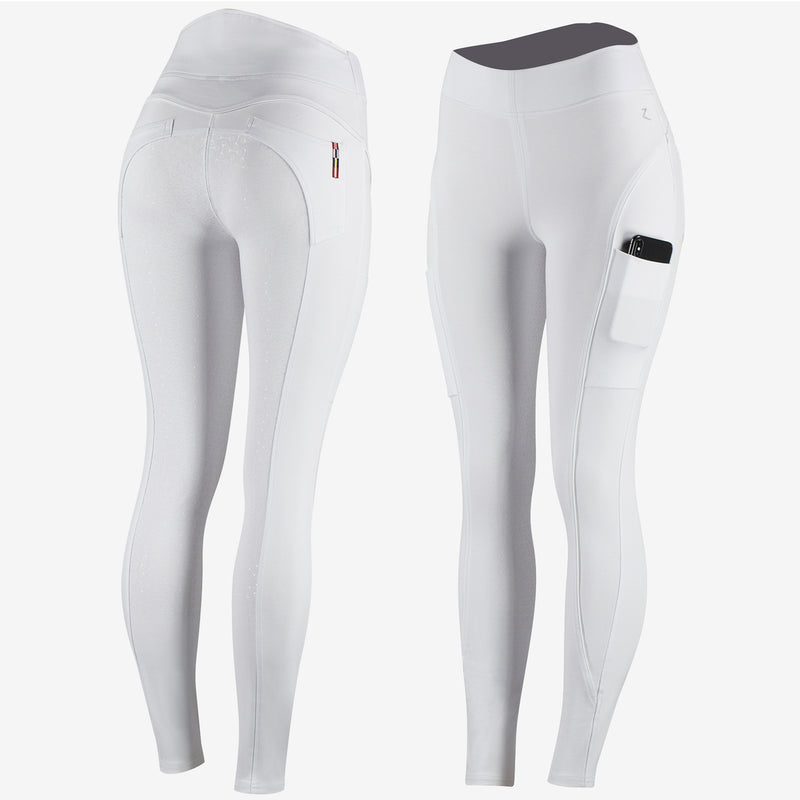 Photo showing front and back of Horze Brea Ladies Competition Riding Tights in White