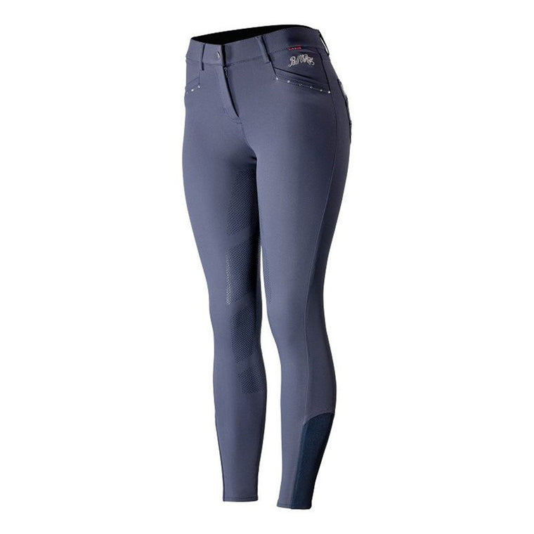 Photo showing back of B//Vertigo Olivia Women's Silicone FS Breeches in Navy