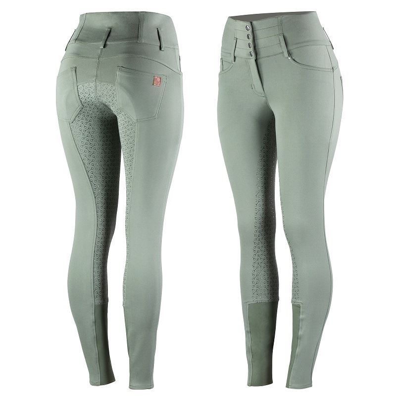 Photo of Horze Tara ladies silicone full seat horse riding breeches in Apple Green.