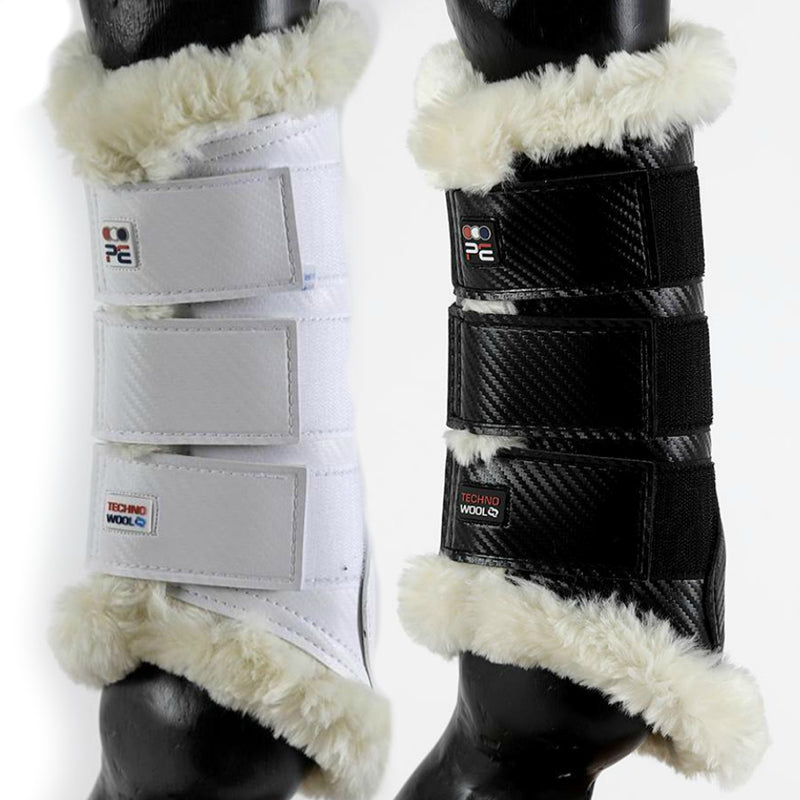 Photo of Premier Equine Air-Tech Techno Wool Brushing Boots in Black and White Varients