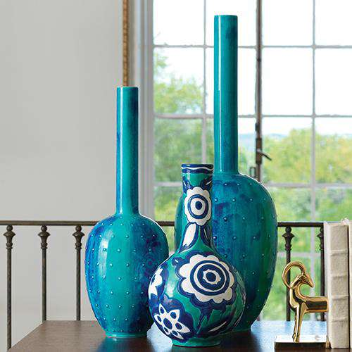 Painted Gourd Vase-Blue-Sm