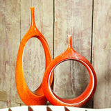 Open Oval Ring Vase-Orange