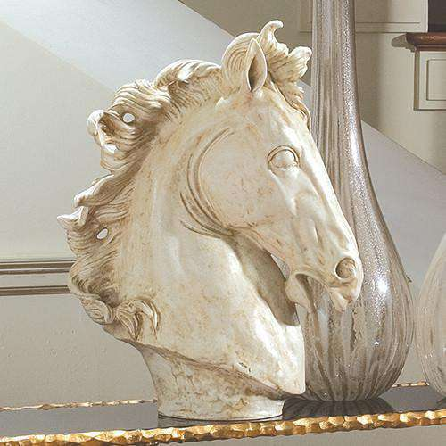 Lg Horse Head Sculpture-Marble Finish