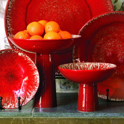 Red Zinger Footed Bowl-Lg