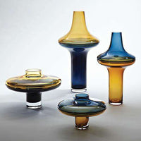 Tall Cobalt Over Amber Vase