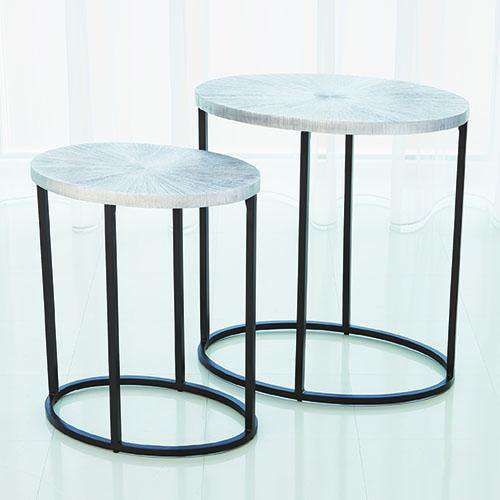 Striated Accent Table-Nickel-Sm