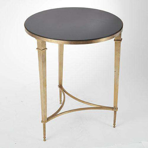 Buy Round French Square Leg Table-Brass & Black Granite Online at best prices in Riyadh