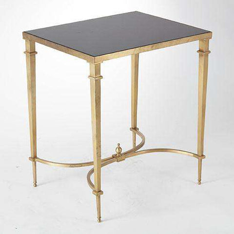 Buy Rectangular French Square Leg Table-Brass & Black Granite Online at best prices in Riyadh