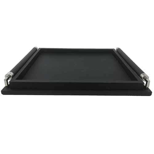Wrapped Handle Tray-Black Leather-Sm