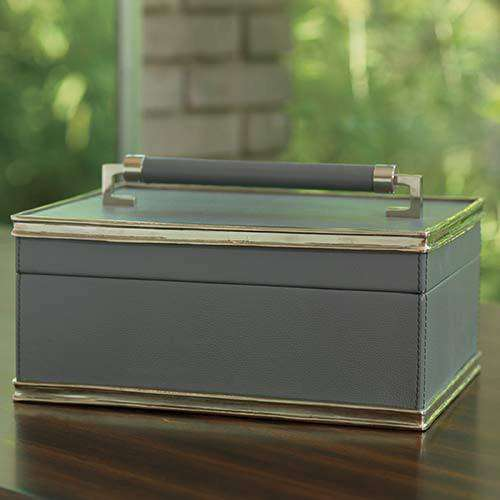 Wrapped Handle Leather Box-Grey/Nickel