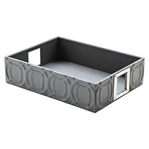 Arabesque Trapunto Rectangle Tray-Grey