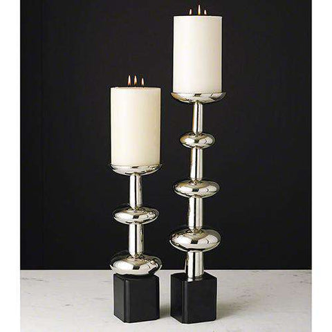 Orb Candlestick-Nickel-Lg