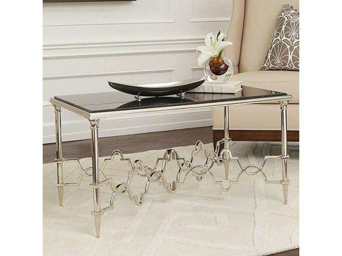 Buy Quatrefoil Rectangular Table Nickel W Black Granite Online At Best Prices In Riyadh