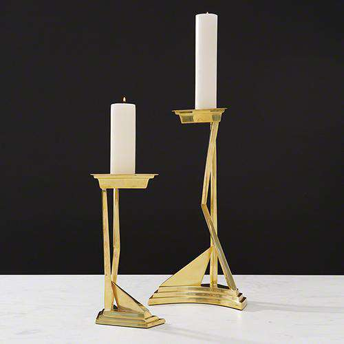 Abstract Candlestick-Brass-Sm