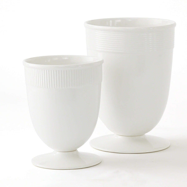 Small Banded Ceramic Vase in White