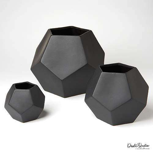 Faceted Vase-Matte Black-Sm