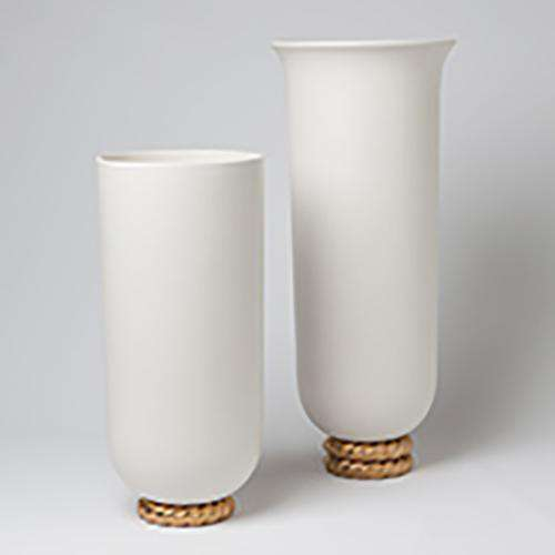 Golden Ceramic Rope Vase-Lg