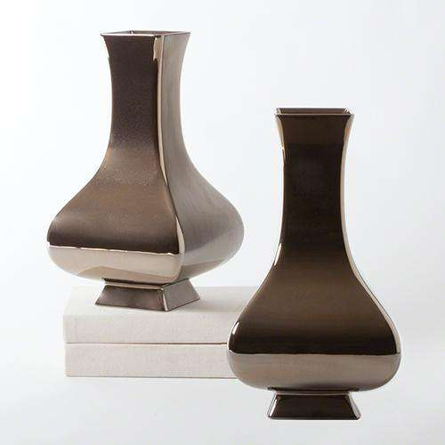 Square Slope Vase-Bronze