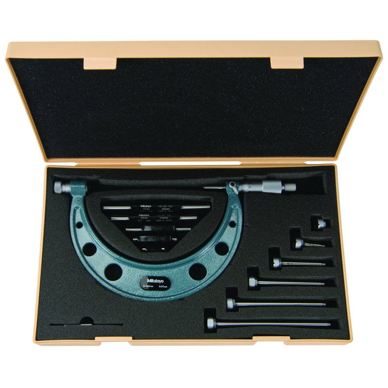 "Mitutoyo Outside Micrometer Set Interchangeable Anvils 0-6"" x .001"" with Interchangeable Anvils-Mitutoyo-Tool Factory"